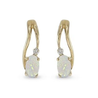 Boucles d'oreilles en or jaune, opales et diamants