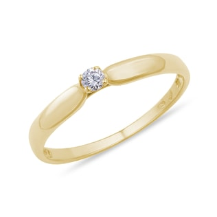 GOLD RING WITH A DIAMOND - SOLITAIRE ENGAGEMENT RINGS - ENGAGEMENT RINGS