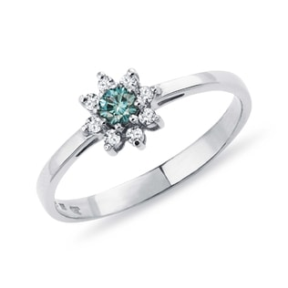 BLUE DIAMOND RING IN WHITE GOLD - FANCY DIAMOND ENGAGEMENT RINGS - ENGAGEMENT RINGS