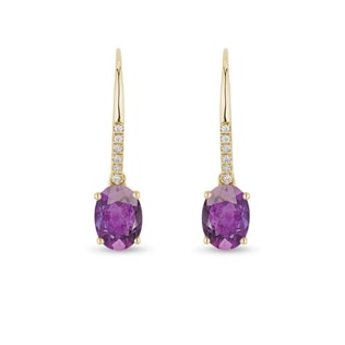 YELLOW GOLD EARRINGS WITH AMETHYSTS AND DIAMONDS - AMETHYST EARRINGS - EARRINGS