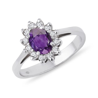 SILVER RING WITH AMETHYST AND CZ STONES - AMETHYST RINGS - RINGS