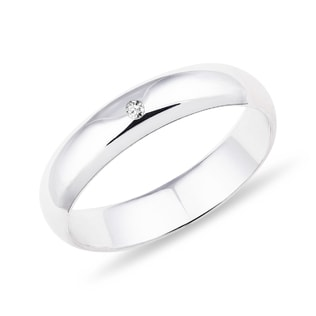 WEDDING RING IN WHITE GOLD WITH A DIAMOND - RINGS FOR HER - WEDDING RINGS