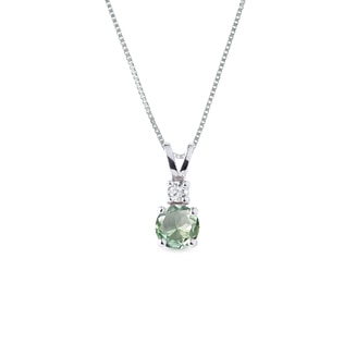 Green amethyst and diamond necklace in white gold