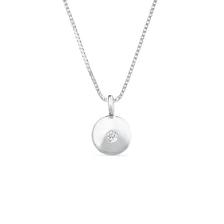 WHITE GOLD PENDANT WITH DIAMOND - DIAMOND PENDANTS - PENDANTS