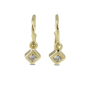 BABY EARRINGS WITH CZ STONES IN 14KT GOLD - YELLOW GOLD EARRINGS - EARRINGS