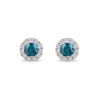 BLUE DIAMOND EARRINGS IN 14KT WHITE GOLD - DIAMOND EARRINGS - EARRINGS