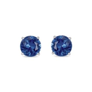SAPPHIRE STUD EARRINGS IN 14KT WHITE GOLD - WHITE GOLD EARRINGS - EARRINGS
