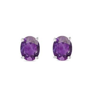 Silver stud earrings with amethyst