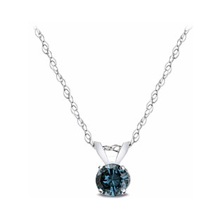BLUE DIAMOND PENDANT IN 14KT GOLD - DIAMOND PENDANTS - PENDANTS