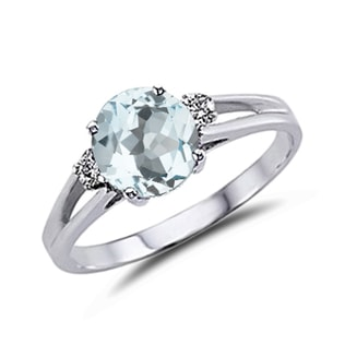 RING IN WHITE GOLD WITH AQUAMARINE - ENGAGEMENT GEMSTONE RINGS - ENGAGEMENT RINGS