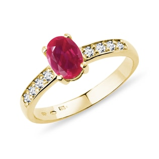 RUBY AND DIAMOND RING IN YELLOW GOLD - ENGAGEMENT GEMSTONE RINGS - ENGAGEMENT RINGS