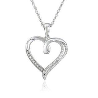 SILVER HEART WITH DIAMONDS - HEART PENDANTS - PENDANTS