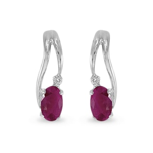 RUBY ​​AND DIAMOND EARRINGS IN 14KT WHITE GOLD - WHITE GOLD EARRINGS - EARRINGS