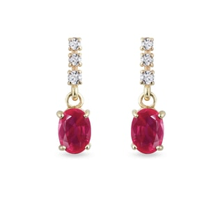 YELLOW GOLD EARRINGS WITH RUBIES AND DIAMONDS - RUBY EARRINGS - EARRINGS