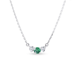 GOLD DIAMOND NECKLACE WITH EMERALD - DIAMOND PENDANTS - PENDANTS