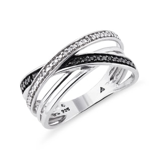 SILVER DIAMOND RING - STERLING SILVER FINE JEWELLERY - FINE JEWELLERY