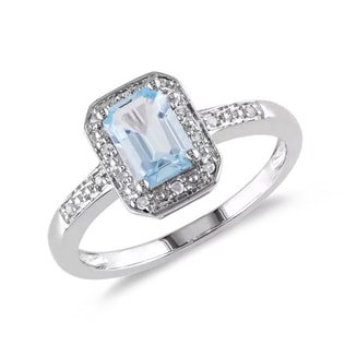 AQUAMARINE RING WITH DIAMONDS - AQUAMARINE RINGS - RINGS