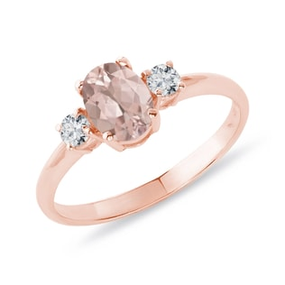 RING WITH DIAMONDS AND MORGANITE - GEMSTONE RINGS - RINGS
