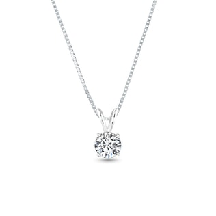 DIAMOND 14KT GOLD NECKLACE - WHITE GOLD PENDANTS - PENDANTS