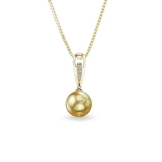PEARL AND DIAMOND PENDANT IN 14KT GOLD - PEARL PENDANTS - PEARL JEWELLERY