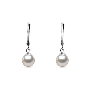 Akoya pearl drop earrings in white gold