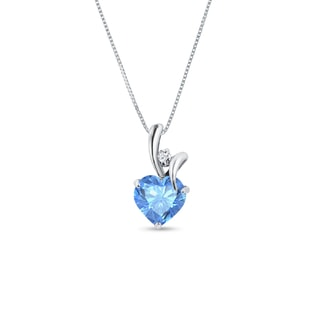 TOPAZ AND DIAMOND HEART PENDANT - HEART PENDANTS - PENDANTS
