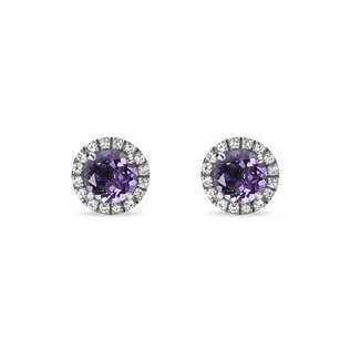 AMETHYST AND SYNTHETHIC SAPPHIRE EARRINGS IN STERLING SILVER - AMETHYST EARRINGS - EARRINGS