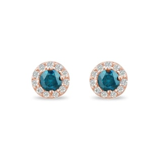 BLUE DIAMOND EARRINGS IN 14KT GOLD - DIAMOND EARRINGS - EARRINGS