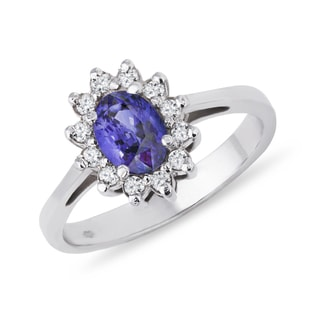 TANZANITE AND DIAMOND RING IN 14KT GOLD - TANZANITE RINGS - RINGS