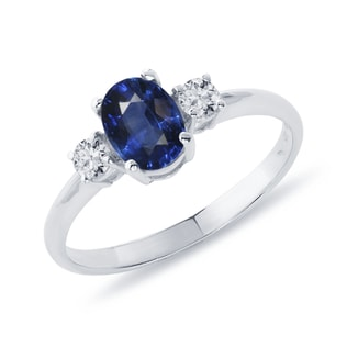 BLUE SAPPHIRE AND WHITE TOPAZ RING IN STERLING SILVER - SAPPHIRE RINGS - RINGS