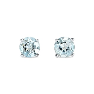 AQUAMARINE STUDS IN WHITE GOLD - AQUAMARINE EARRINGS - EARRINGS