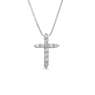 Diamond cross pendant in 14kt white gold