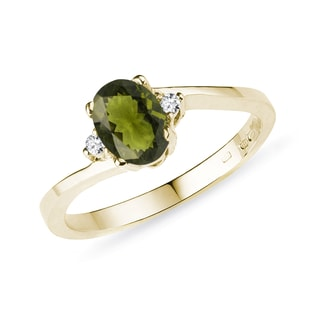 Moldavite and diamond ring in yellow gold