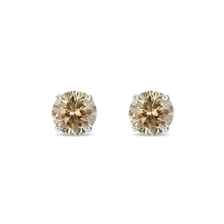 CHAMPAGNE DIAMOND STUD EARRINGS IN STERLING SILVER - STUD EARRINGS - EARRINGS
