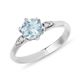 SILVER RING WITH AQUAMARINE AND CZ STONES - AQUAMARINE RINGS - RINGS