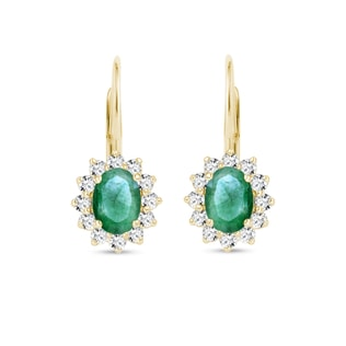 EARRINGS WITH EMERALDS AND DIAMONDS - EMERALD EARRINGS - EARRINGS