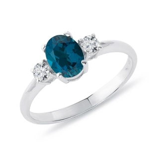 SILVER RING WITH LONDON TOPAZ AND CZ STONES - TOPAZ RINGS - RINGS
