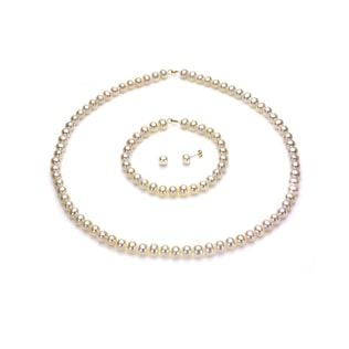 PEARL JEWELLERY SET IN 14KT YELLOW GOLD - PEARL SETS - PEARL JEWELLERY