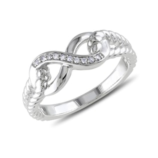 DIAMOND INFINITY RING IN STERLING SILVER - STERLING SILVER RINGS - RINGS
