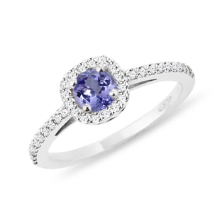 ENGAGEMENT RING WITH TANZANITE AND DIAMONDS - ENGAGEMENT HALO RINGS - ENGAGEMENT RINGS