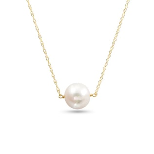 Pearl necklace in 14kt gold