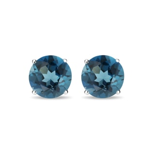London topaz 14kt gold earrings