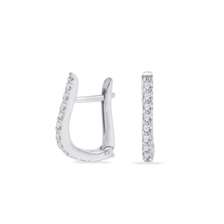 WHITE GOLD EARRINGS - CZ STONE EARRINGS - EARRINGS