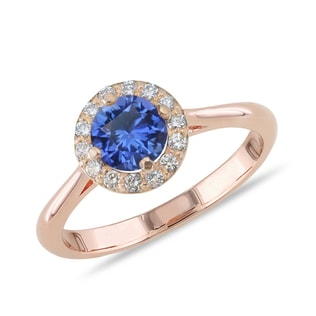 ROSE GOLD RING WITH SAPPHIRE AND DIAMONDS - FINE JEWELLERY