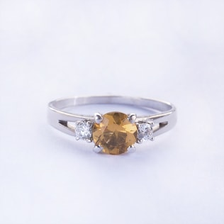 CITRINE AND DIAMOND RING IN 14KT GOLD - ENGAGEMENT GEMSTONE RINGS - ENGAGEMENT RINGS