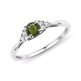 Moldavite and diamond 14kt gold ring
