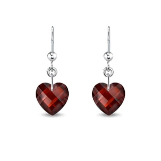 GARNET HEART EARRINGS - STERLING SILVER EARRINGS - EARRINGS