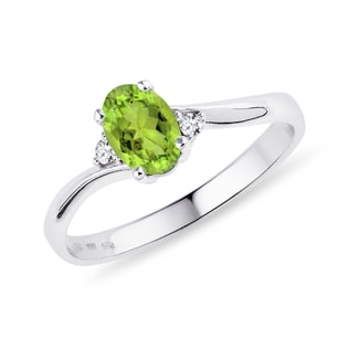 Silver ring with green olivine