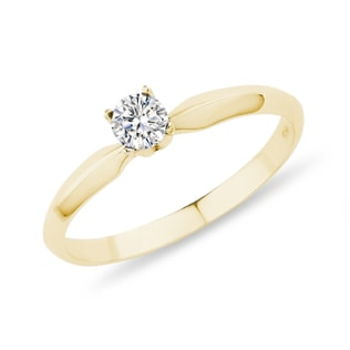 DIAMOND ENGAGEMENT RING IN YELLOW GOLD - SOLITAIRE ENGAGEMENT RINGS - ENGAGEMENT RINGS