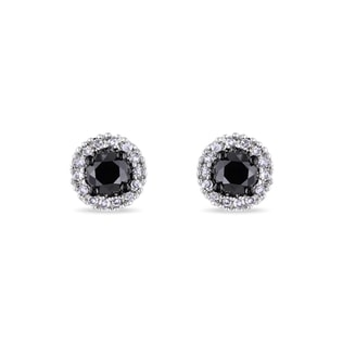 BLACK AND WHITE DIAMOND EARRINGS IN 14KT GOLD - WHITE GOLD EARRINGS - EARRINGS